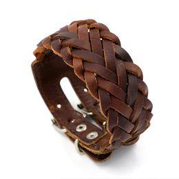Wholesale Wide Bracelets - Woven Bracelets for Men Cowhide Wide Wristband Double Buckle Leather Bracelet Punk Charm bracelets Personality Cuff