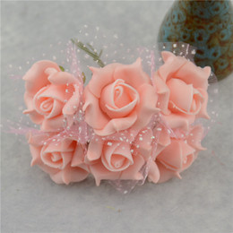Wholesale Wholesale Fake Flowers For Weddings - 12pcs Lace Foam Pentagon Rose Artificial Flower Bouquet For Wedding Car Decoration DIY Garland Decorative Floristry Fake Flowers