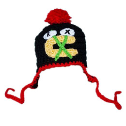Wholesale Hockey Team Gifts - Crochet Hockey Hat Handmade Knit Baby Boy Girl Hockey Team Fans Hat Kids Pompom Winter Hat Infant Toddler Photo Prop Baby Shower Gift