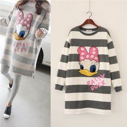Wholesale Mother Duck - 2016 Winter Autumn Sweater Jumper Hoodies Pregnancy woman Top Duck Tee Long Style Pregnant Clothing New Mother Dress 2 colors