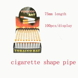 Wholesale Cheap Wholesale Mini Pc - 100 Pcs lot 75mm Cigarette Shape Metal Smoking Pipes Mini Cheap Portable Designer Tobacco Pipes Snuff tube Aluminum Smoking Accessories