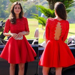 Wholesale Backless Half Sleeve Homecoming Dress - New Arrival A-Line Red Lace Half Sleeve Short Prom Homecoming Dresses 8th Grade College Short Formal Party Dress Open Back Custom Made 2017