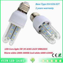 Wholesale E26 Led Outdoor - High power Led corn light 5W AC85-265V lights E27 E26 E14 2U Bulbs for indoor outdoor lighting