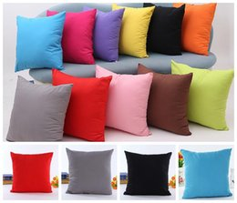 Wholesale Cars Candy - 45*45cm Pillow Case Cover Candy Color Square Pillow Case Cushion Cover Office Home Sofa Car Decoration KKA3224