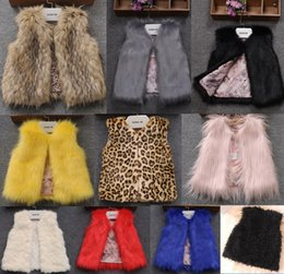 Wholesale Child Pink Fur Vest - 2016 Baby Girls Faux Fur Warm Vests Kids Girl Fall Winter Fashion Fur Waistcoat Kids clothing Children Outerwear babies clothes