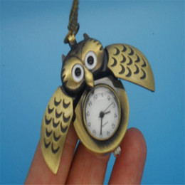 Wholesale Digital Necklace Watches - Vintage Jewelry Pocket Watch Necklace New Design Unique Antique Retro Style Gold Color Alloy Bird Owl Wing Workable Pocket Watch GR3