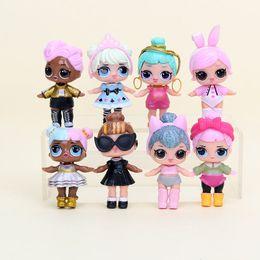 Wholesale Reborn Doll Dresses - 8pcs set Surprise Doll Girls LOL PVC Children Dress Up Toys Anime Action Figures Realistic Reborn Dolls Gifts for Kids