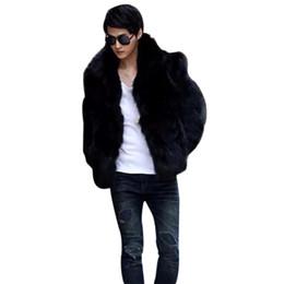 Wholesale Fox Coats - Fall-2016 Mens Fashion Solid Vetement Homme Faux Fox Fur Coat Casual Warm Jacket Outwear Autumn Winter Style Plus Size L-3XL