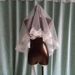 Wholesale Elbow Length Lace Veil - New Lace EdgeVeils White Tulle One-Layer Elegant Short 1.3 M Beautiful Wedding Veils