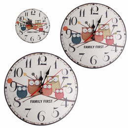 Wholesale Vintage Owl Wall Clock - Wholesale- European Vintage Owl Forest Round Wooden Stand Wall Clock Decoration 12 30 34cm