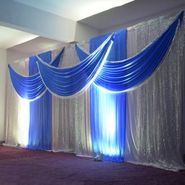 Wholesale Supplier Party Supplies - 3M*6M Wedding Backdrop Swag Party Satin Curtain Celebration Stage Performance Background Drape Silver Sequins Wedding Favors Suppliers