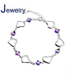 Wholesale Toggle Clasp Link Necklaces - Silver bracelet female models natural amethyst necklace Korean version of the big European and American jewelry