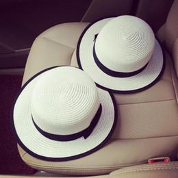 Wholesale Hat Wholesale England - Wholesale-England Black Bow Summer Hats For Women Chapeu Feminino Beach Hat Sun Visor Wide Brimmed Panama Hat Sombrero Mujer Chapeau