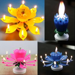 Wholesale Children Birthday Party Gifts - 2 Layer Petals Music Candle Children Birthday Party Lotus Sparkling Flower Candles Squirt Blossom Flame Cake Accessory Gift 500pcs OOA3015