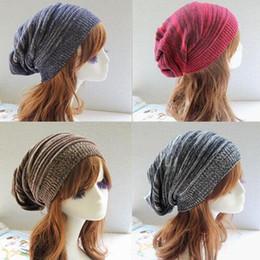Wholesale Fold Beret - 2016 New Beanies Unisex Knit Baggy Beanie Beret Fold stripes Knitting Hat Winter Warm Woolen Fashion Oversized Hip-hop Ski Caps HJIA1051