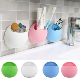 Bathroom Cups Holders Promo Codes   Wholesale  Cute Eggs Design Toothbrush  Holder Suction Hooks Cups