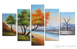 Wholesale Bedroom Framed Wall Paintings - YIJIAHE Wall Art H61 5Pieces The four Seasons Trees Paintings on Canvas The Hand-Painted Wall Pictures For Living Room Bedroom Framed