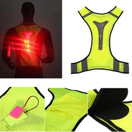 Wholesale Reflective Vest Led - Wholesale-LED Reflective Vest Jacket for Night Sports Running Cycling High Visibility