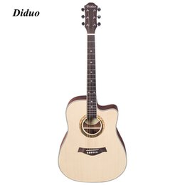 Wholesale Guitar Wood Types - Brand Acoustic Guitar Rounded Corner Cutaway Acoustic Guitar Solid Wood Top Strap String Pick Hand Exerciser Wound Guitarra