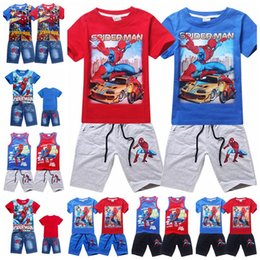 Ensembles de vêtements d'été spiderman en Ligne-New Spiderman Boys Ensembles de vêtements Mode Summer Kids T-shirt Jeans Vêtements courtsSset Children Outfits 18 Styles