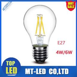 Wholesale White Globe Lamp E27 6w - X20pcs LED Edison light bulb Led Lamp E27 110v 220V 4W 6W Filament Led globe ball Bulb E27 360 Degree 860Lm White  Warm White lighting