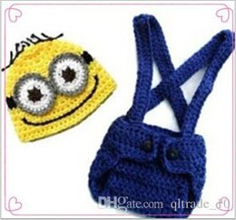 Wholesale Minions Beanies - 500 BBA4059 kid minions handmade Crochet Knit beanie+pants baby birthday clothing Despicable Me photography Props Costume set christmas gift