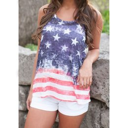 Wholesale Blouses American Flag - Fashion American Style Flag&Stripe Stars Shirts for Women Vest Tops American Flag Design Tank Shirts for Summer Blouses #10