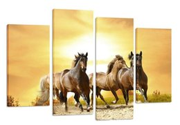Wholesale Wall Decor Art Canvas Horses - Run Horse Prints Painting Wall Poster Home Decor 4 Piece Canvas Art HD Digital Printing Painting