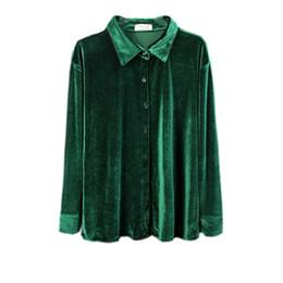 velvet korean fashion UK - Autumn new korean fashion women's retro turn down collar long sleeve solid color velvet blouse shirt