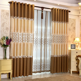Wholesale Brown Sheer Curtains - Ready made Window European Luxury Embroidered Voile Curtain Sheer Curtain purple blue brown Tulle Window Curtains for LivingRoom