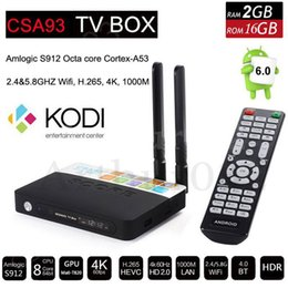 Wholesale Dual Arm - CSA93 Amlogic S912 Octa core Android 6.0 TV Box ARM Cortex-A53 2G 16G BT4.0 2.4 5.8GHZ Dual WiFi 1000M LAN H.265 4K Smart Media Player S905X