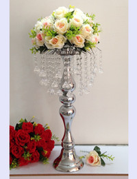 Wholesale Crystal Flowers Holder - New arrival 58 cm height silver crystal road lead props   wedding table party centerpiece flower holder home decor 1 lot=10 pcs