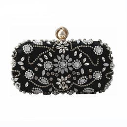 Wholesale Black Studded Messenger Bag - New Wallet 2018 Women messenger bag vintage Luxury fashion heavy manual jewel studded Clutch bride cheongsam high-grade evening bag Hot