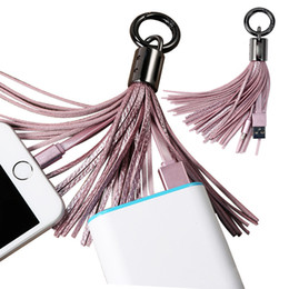 Wholesale pu cord - Tassels Charging Data Cable line Portable Key Ring Micro USB V8 PU charger Bag Decoration Chain Sync Quick Charge Cords For Samsung SCA200