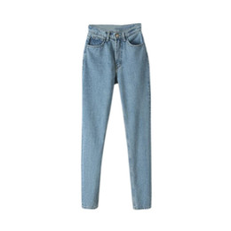 Wholesale Jean Hot Pants - Wholesale- 2017 Fashion Women Casual Europe Straight Jean Haren High Waist Softener Pants Jeans Hot Sells Size 24-29