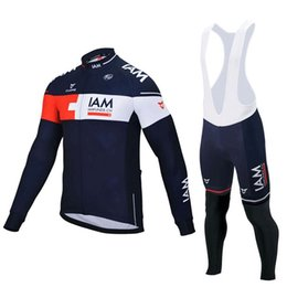 Wholesale Cycling Pants Jersey Set - 2016 Pro Team IAM Cycling Jerseys Winter Long Sleeve Thermal Fleeced Cycling Clothing Winter Bib Pants Sets for Men Outdoor Maillot Ciclismo