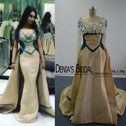 Wholesale Long Maternity Skirts - 3D-Floral Over Skirts Evening Dresses Real Images Champagne and Green Sheer Jewel Hollow Back Detachable Train Formal Prom Gowns