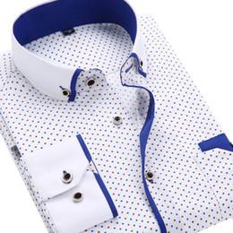 Wholesale Shirt Dress Fashion Polka Dot - Wholesale- Printed Plaid Polka Dot Shirt Men Long-Sleeved Casual Slim Fit 2017 Fashion New 21 Colors Male Dress Shirts Camisas Masculina