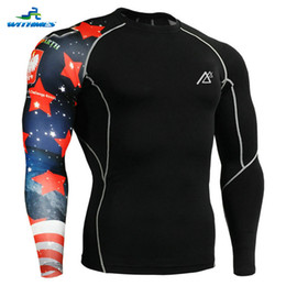 Wholesale Athletic Tops Long Sleeve - Wholesale-CP-B10 Winter Compression Sportswear Men Long Sleeves Electric Skateboard T Shirts 3D Printed Skiing Base Layers Athletic Tops