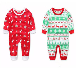 Wholesale snowflake clothing baby - Kids Infant Baby Fawn snowflake Christmas Printing Cotton Romper Toddler Jumpsuits Children's Winter Kids Clothing Babies Clothes A08