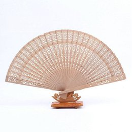 Wholesale Hand Carve Wood - Wholesale- wedding favors 100pcs lot Chinese carved folding fragrance wood hand fan