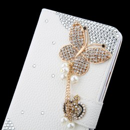 Wholesale Diy Phone Cases Rhinestone - Luxury crystal rhinestone flower butterfly Wallet style bling Diamond DIY crown Flip Leather phone case for Iphone 6s 6s plus Samsung S7