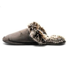 Zapatillas interiores de invierno para hombre. online-38-46 Winter Men Warm Skid House Slippers Zapatillas de interior para hombres Indoor felpa amantes de la piel Cotton Floor Slippers