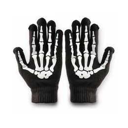 Wholesale Skeleton Touch Screen Gloves - Phone Tablet Finger Tip Touch Screen Gloves Skeleton Smart Warm Winter Cotton Mitten For Men And Women Black WF202