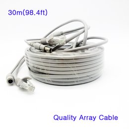 Wholesale Ip Camera Array - High quality 2 in 1 RJ45 Cat5e Array Network Cable & 12V Power Combine Combo Cable Integrated Line Wire 30 meters for IP Camera