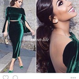 Wholesale Velvet Dress Tea Length - Robe Dubai Vintage Green Velvet Evening Party Dress Short Formal Gowns 2016 Fashion Two Pieces Tea-Length Arabic Cocktail Dresses Vestido