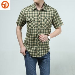 Wholesale Care Sd - Wholesale-SD Brand 2016 Fashion Plaid Casual Shirt For Men Short Sleeve Easy Care High Quality Outdoor Sport Shirts camisa masculina