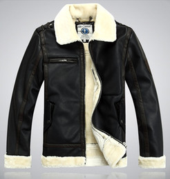 Wholesale Leather Jacket Fleece - Fall-Free shipping !!! International authentic B3 fur leather coats mens motorcycle leather, winter warm thick leather jacket,M--XXL