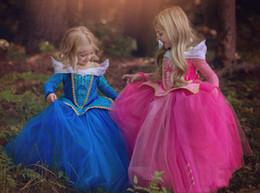 Wholesale Baby Sleeping Beauty - Baby girls princess TuTu lace dress children sleeping Beauty dress cartoon kids princess aurora dress for party birthday C1487