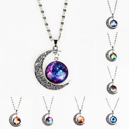 Wholesale Silver Multi Gem Necklace - XS Ancient Silver Moon Sky Multi-color Necklace Glass Gem Star Pendant Necklaces Wholesale
